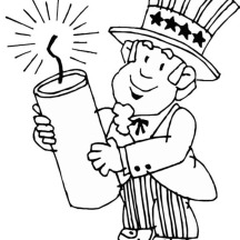 Uncle Sam Holding firecracker for Independence Day Event Coloring Page