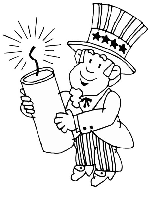 uncle sam holding firecracker for independence day event