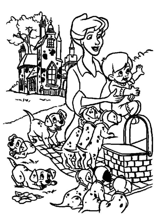 101 Dalmatian Family Picnic Coloring Pages