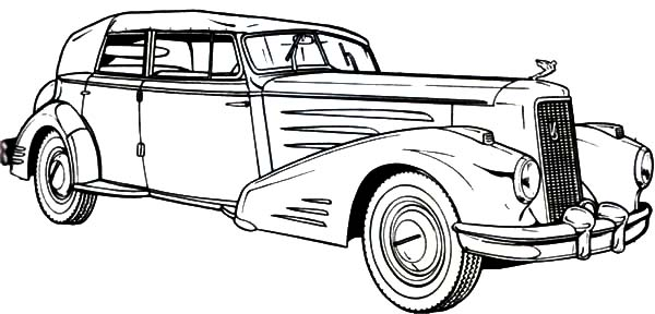 classic cars coloring pages - 1936 cadillac old classic car coloring pages