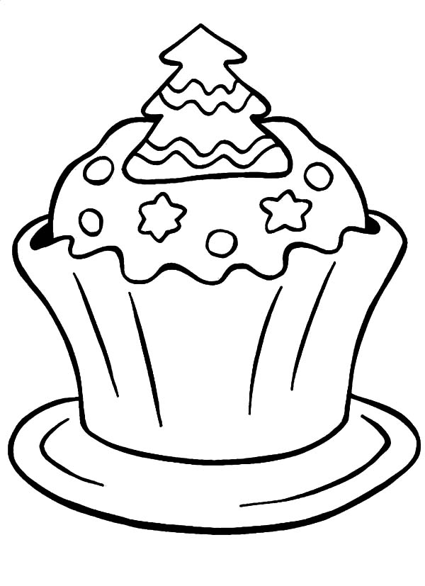 A Christmas Cupcakes Coloring Pages