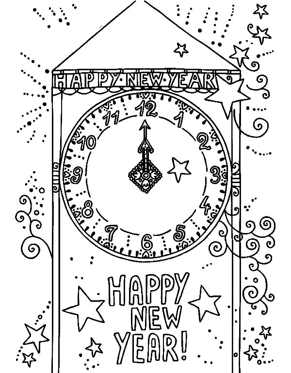 A City Clock Tower Signing the New Year Coming Coloring Pages