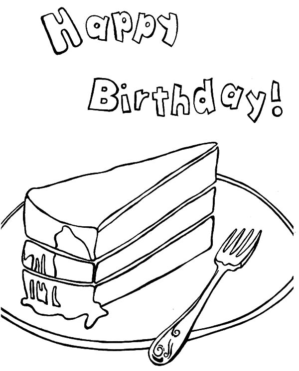 A Piece of Chocolate Cake Coloring Pages