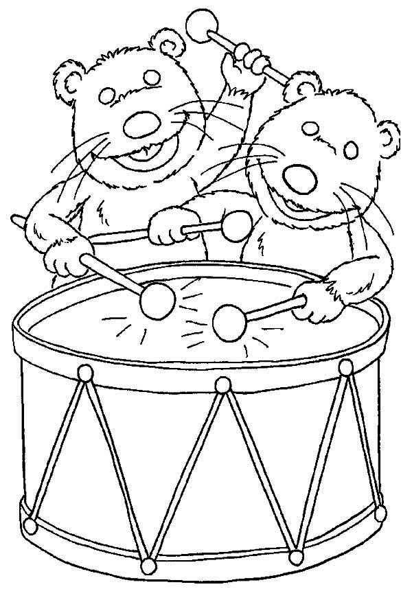 Bear inthe Big Blue House Friend Pip and Pop Playing Drum Coloring Pages