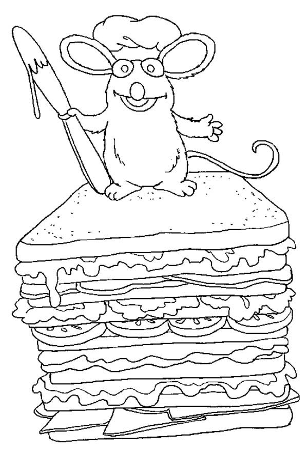 Bear inthe Big Blue House Friend Tutter Make a Big Sandwich Coloring Pages