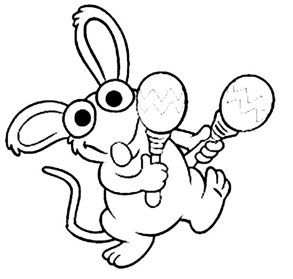 Bear inthe Big Blue House Friend Tutter Playing Maracas Coloring Pages