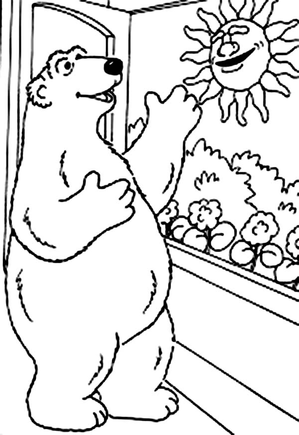 Bear inthe Big Blue House Greeting the Morning Sun Coloring Pages
