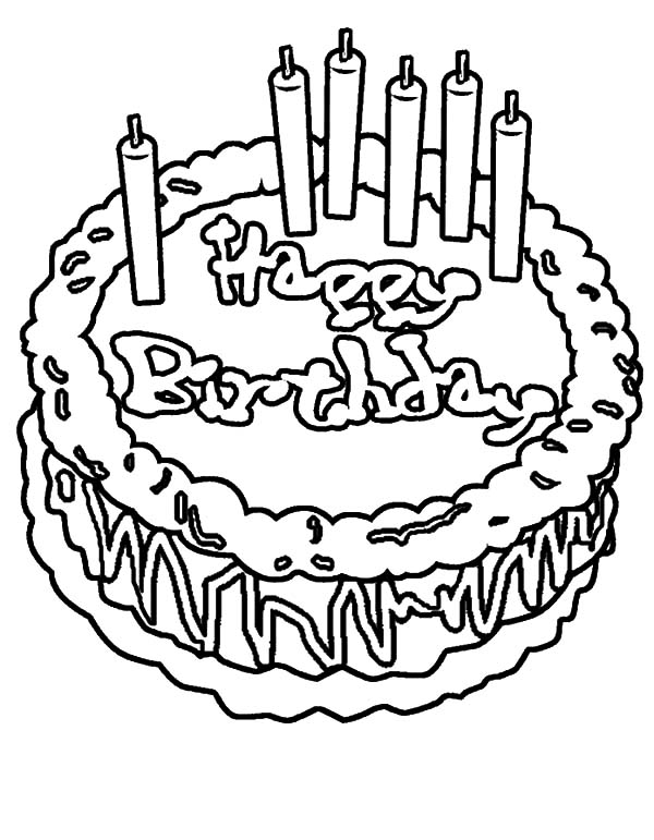 Beautifully Decorated Birthday Cake Coloring Pages