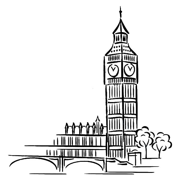 Big Ben Clock Tower Architechture Coloring Pages