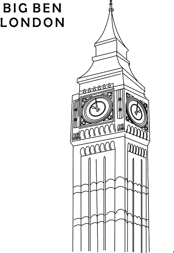 Big Ben London Clock Tower Coloring Pages