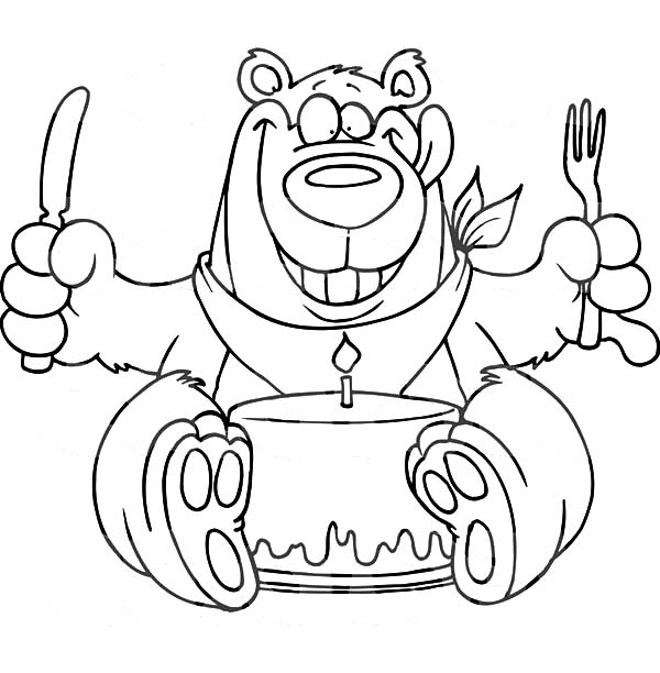 Birthday Bear Eating Chocolate Cake Coloring Pages
