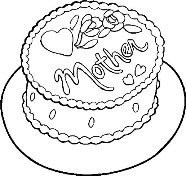 Birthday Cake for My Mother Coloring Pages