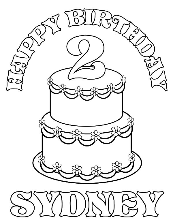 Birthday Cake for Sidney Coloring Pages