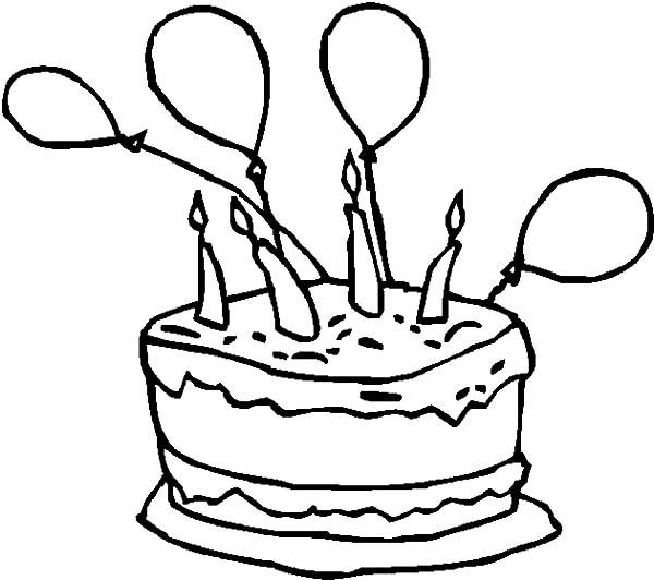 Birthday Cake with Balloons Coloring Pages