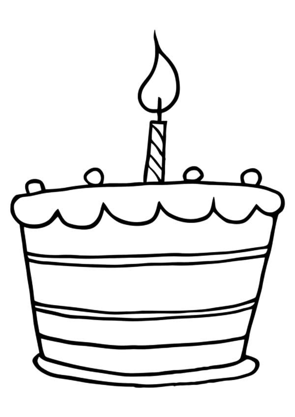 Birthday Candle on Birthday Cake Coloring Pages NetArt