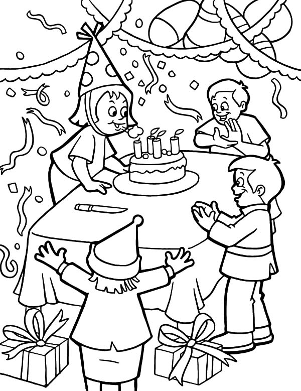 Blowing Candles at Birthday Party Coloring Pages