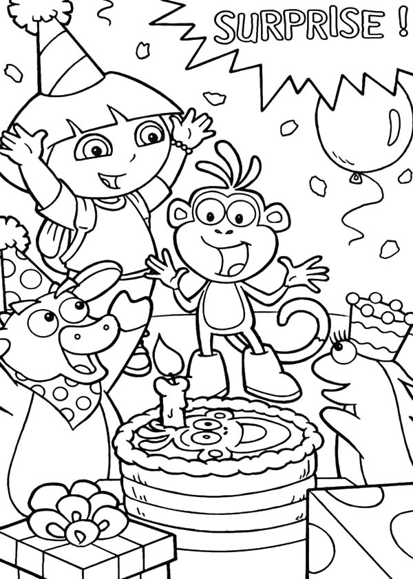 Boots Birthday Party Surprise Coloring Pages