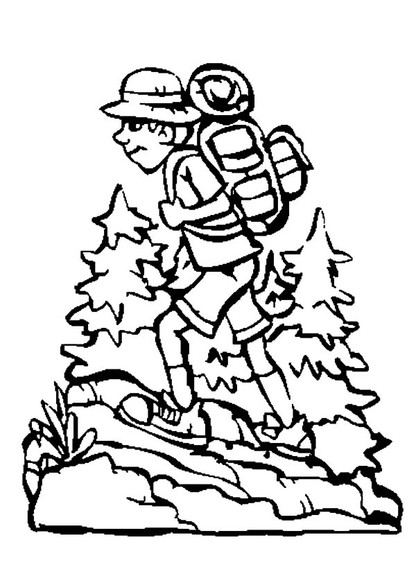 Boy Hiking with Camping Backpack Coloring Pages NetArt