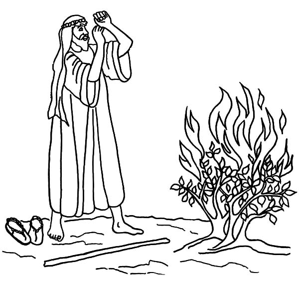 Burning Bush Moses Coloring Pages NetArt