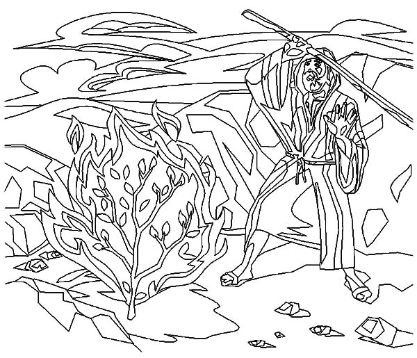 coloring pages moses burning bush - photo#17