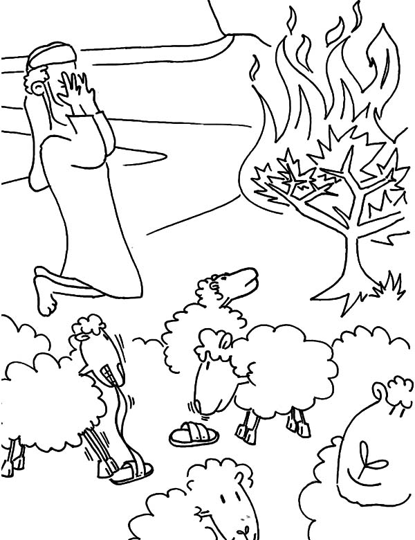 Bush is Burning and Moses Closed His Eyes Coloring Pages