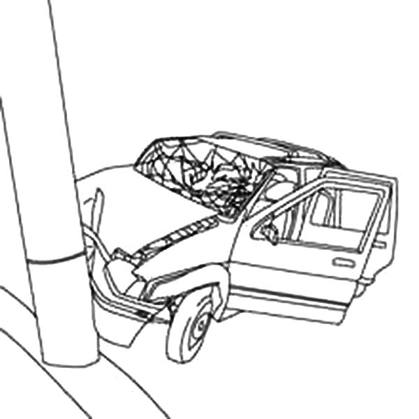 cars crashed to electricity pool coloring pages