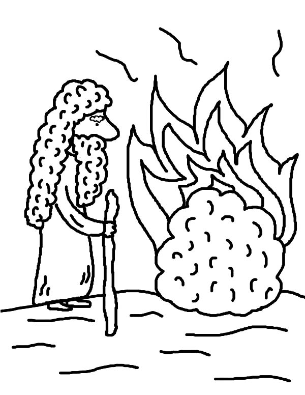 cartoon of moses burning bush coloring pages