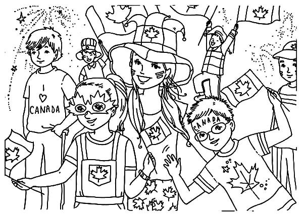 Celebrate Canada Day on the Street Coloring Pages