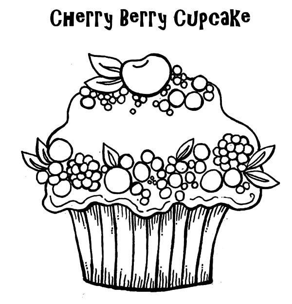 Cherry Berry Cupcakes Coloring Pages