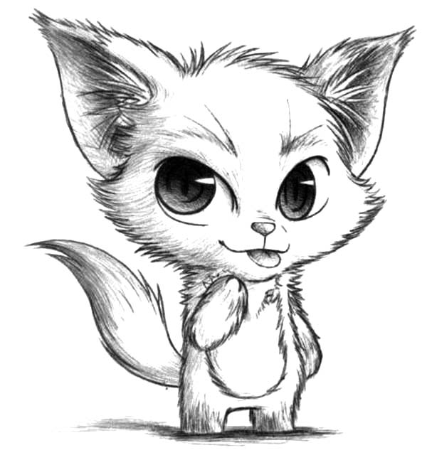 Chibi Desert Fox Sketch Coloring Pages