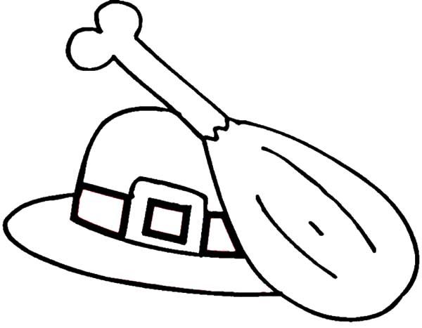 pilgrim hat coloring page - chicken drumstick pilgrim hat coloring pages netart