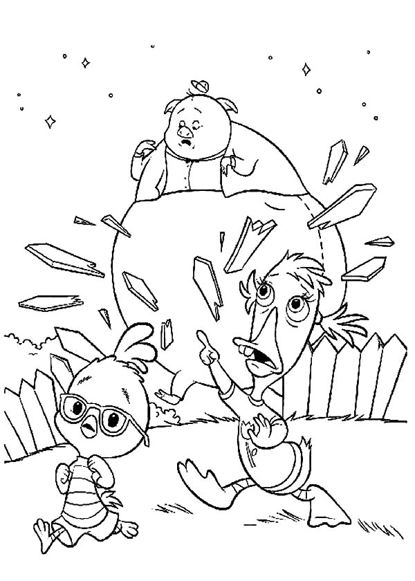 Chicken Little Abby and Runt of the Litter Chasing Fish Out of Water Coloring Pages