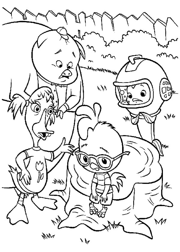 Chicken Little Friends Try to Cheer Him Up Coloring Pages