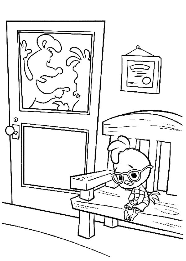 Chicken Little Waiting Outside Office Coloring Pages