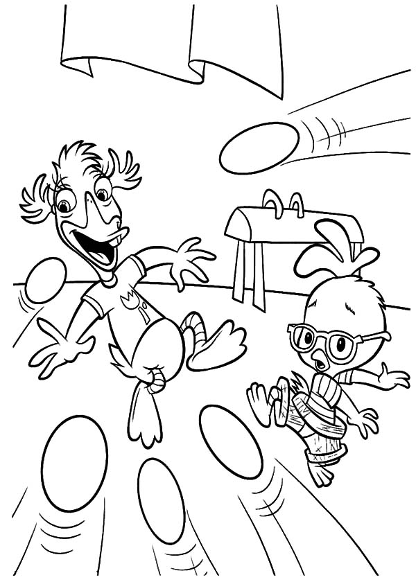 Chicken Little and Abby Dodging Egg Shot Coloring Pages