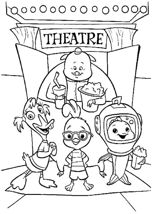 Chicken Little and Friends Standing Outside Theatre Coloring Pages