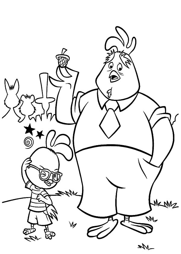 Chicken Little and His Widowed Father Buck Ace Cluck Coloring Pages