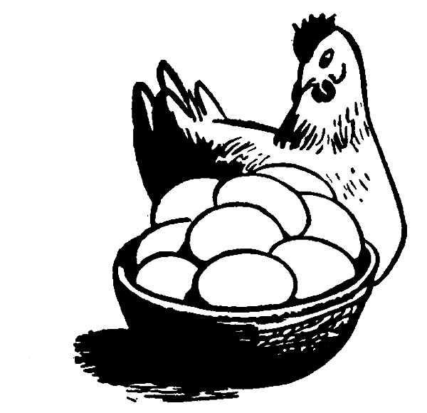 Chicken Looking at Basket Full of Egg Coloring Pages