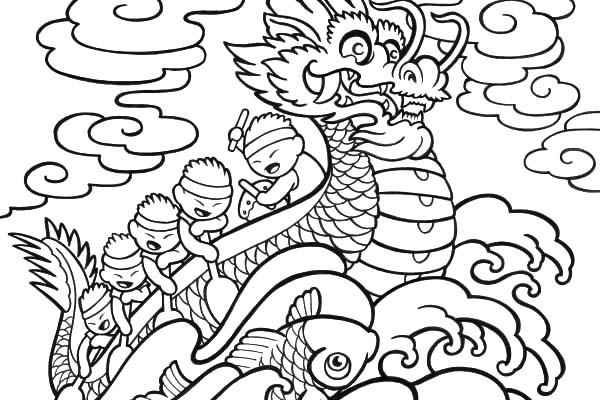 Chinese Dragon Boat Festival Coloring Pages