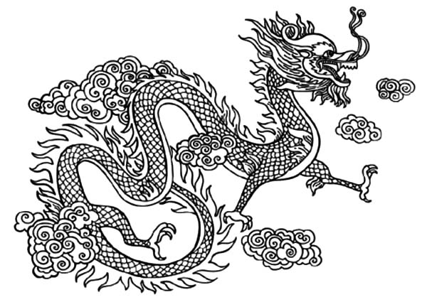 Chinese dragon fly over the clouds coloring pages