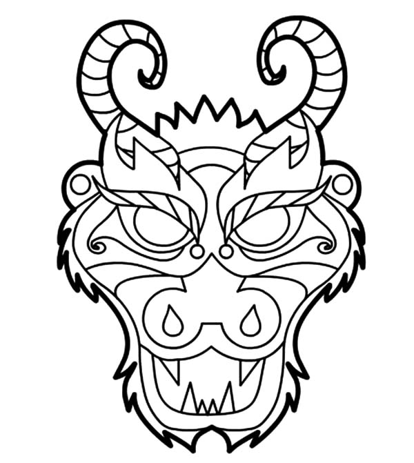 Chinese Dragon Mask Coloring Pages Netart