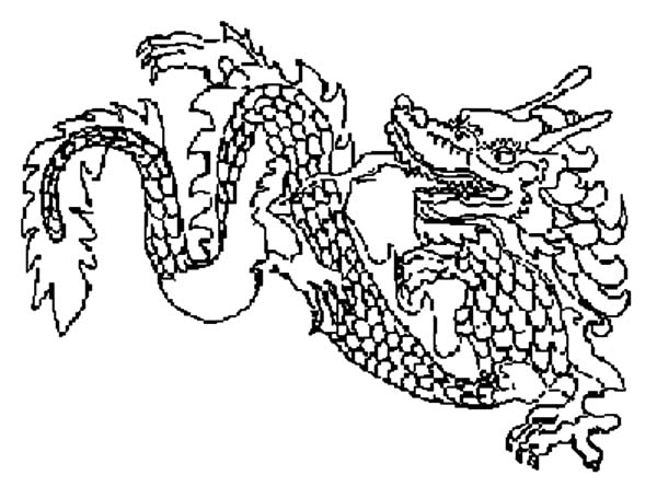 Chinese Dragon Sketch Coloring Pages