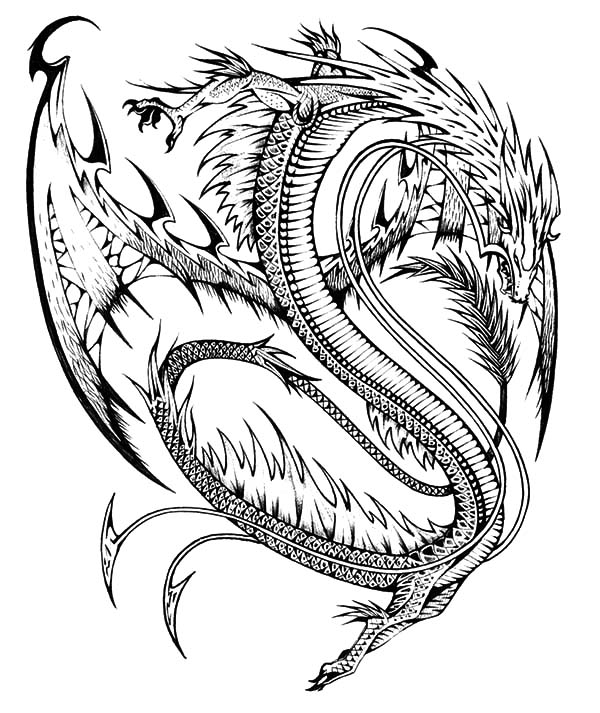 Chinese Dragon Tattoo Design Coloring Pages - NetArt