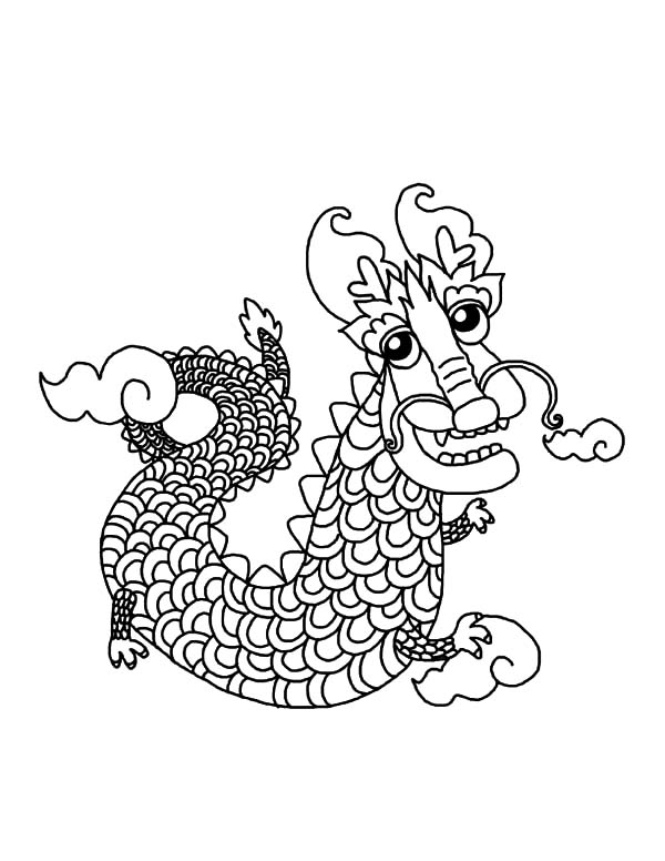 Chinese Dragon from Heaven Coloring Pages