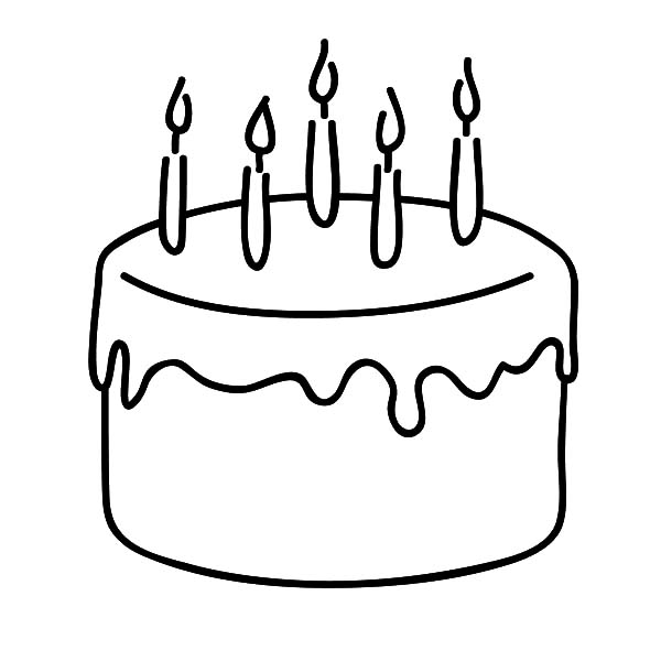 Chocolate Cake for Celebrate Five Year Old Kid Coloring Pages NetArt