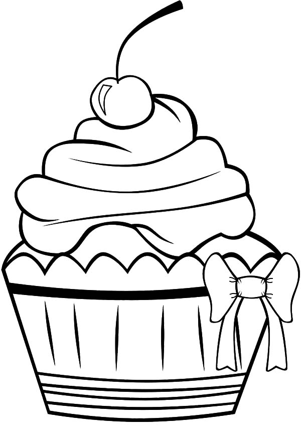 Chocolate Cup Cake with Bow Tie Coloring Pages