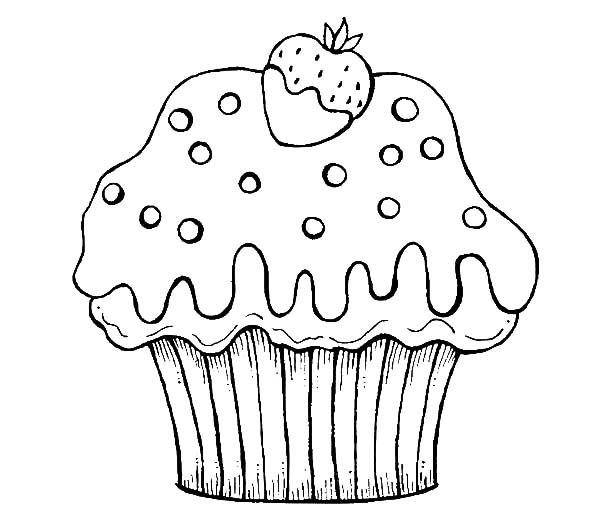 Chocolate Dipped Strawberry Cup Cake Coloring Pages