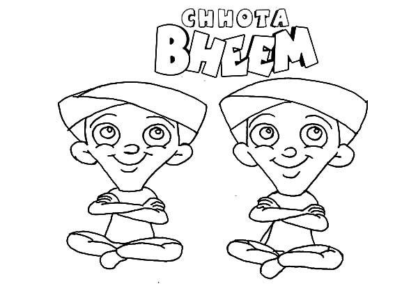 Chota Bheem Characters Dhole and Bhole Coloring Pages