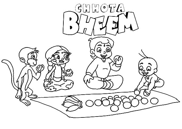 Chota Bheem Share Fruits with Friends Coloring Pages