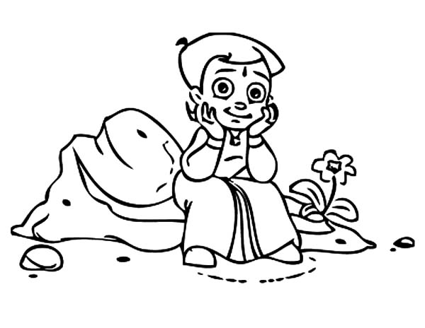 Chota Bheem Sitting on a Rock Coloring Pages